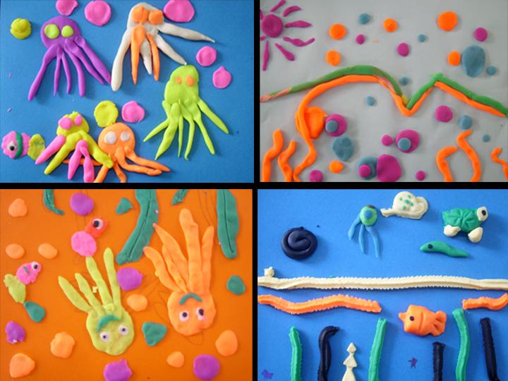 橡皮泥大变身——海底世界,五彩糖果,充满童真和童趣;多彩卡纸小制作