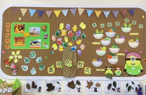 主题墙布置,结合生活经验,教师引导幼儿观察周围植物的变化,认识秋天