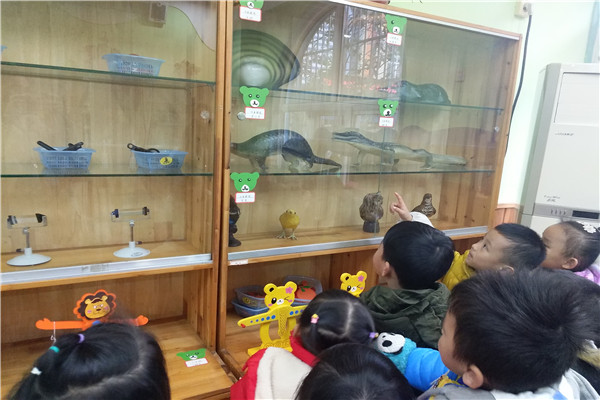 幼儿园小二班的孩子们又走进科学发现室,今天他们是来观看动物标本的.