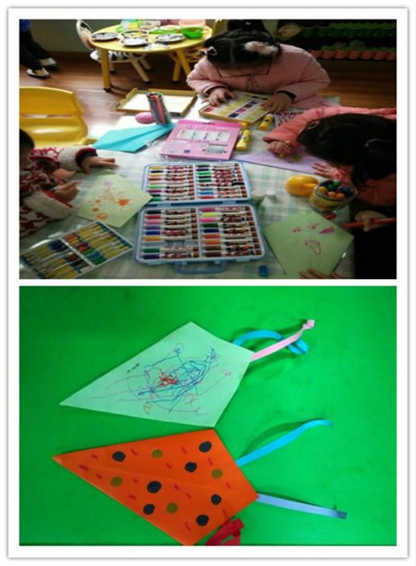草长莺飞二月天,拂堤杨柳醉春烟。儿童放学归来早,忙趁东风放纸鸢。在这个春意正浓的日子里,放风筝也许是许多家长带着自己的宝贝很好的外出踏青活动。2017年2月20日,市委幼海棠园小一班的老师们组织了一次有趣的绘画活动。本次活动的主题就是美丽的风筝。   教师们为孩子们准备了油画棒和风筝纸,并给孩子们观看了各种各样的风筝图片,引导幼儿观察图片,然后鼓励幼儿大胆自由地创作自己的风筝。慢慢地一只只美丽的风筝就被创作出来了。你们瞧!他们有的在风筝上画了小花和小草,有的在上面画了彩色的点点,还有的在上面画了美