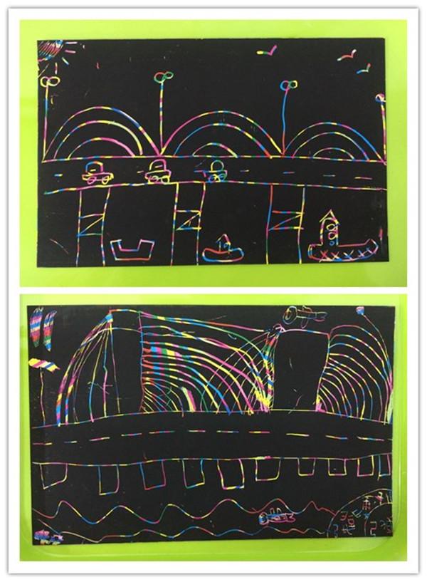 委幼总园 炫彩刮画秀 美丽的长江大桥